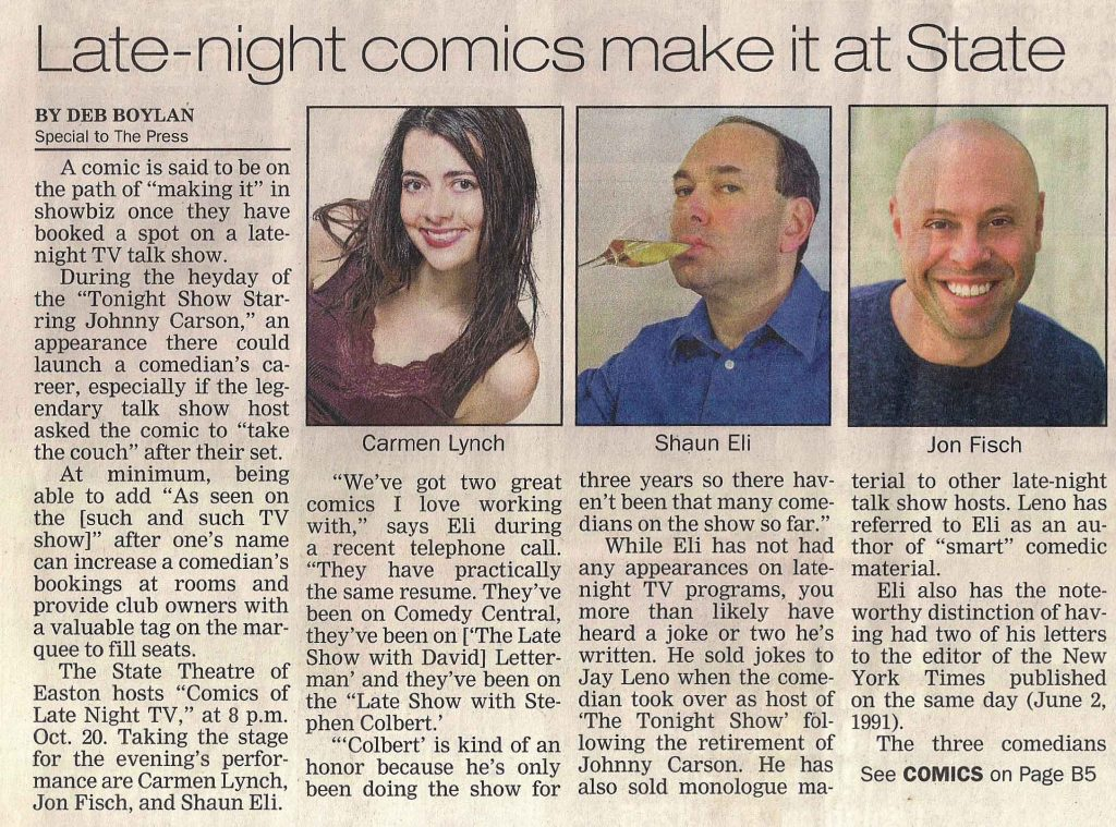 """Lehigh Valley Press article on Ivy Stand-up entitled """"Late-night comics make it at State"""""""