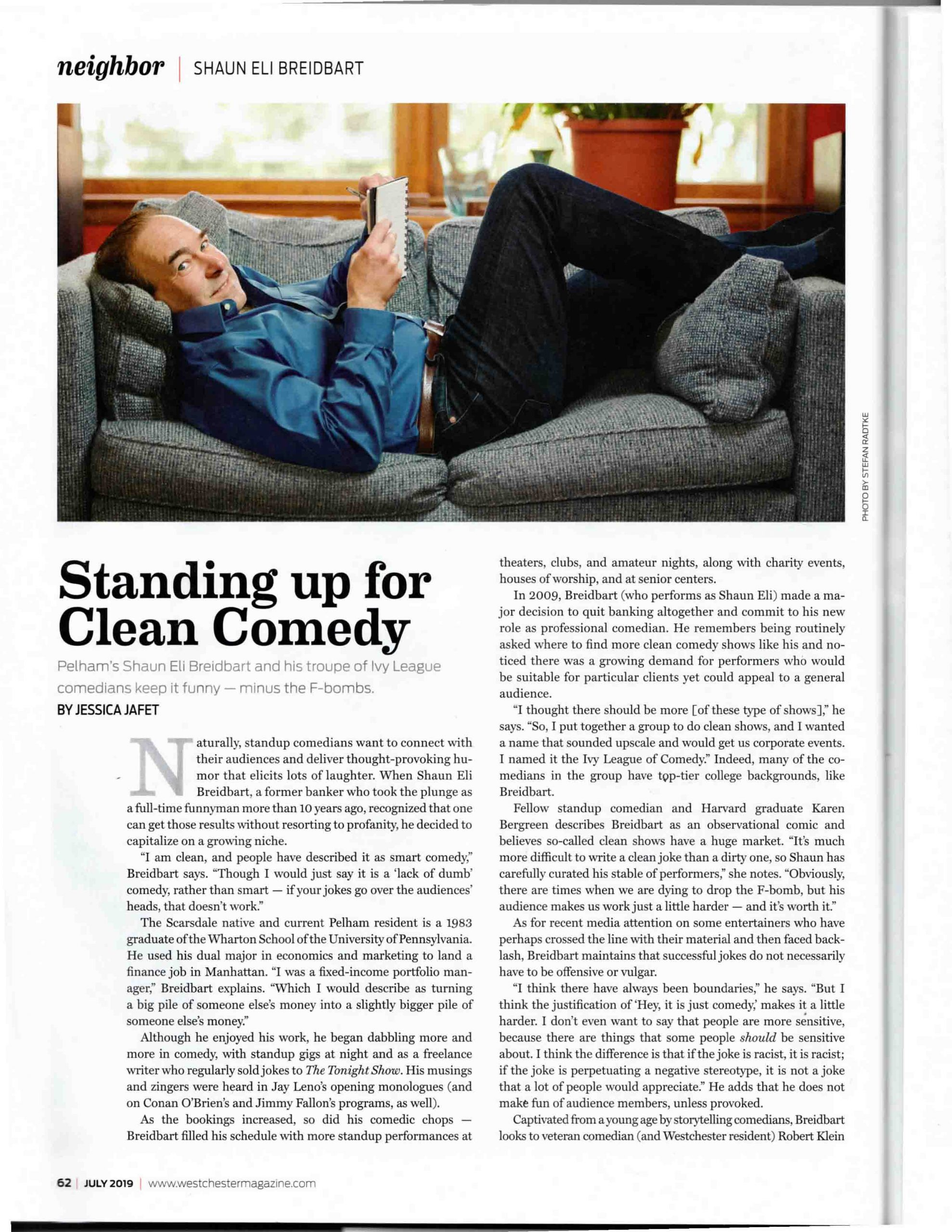 page 1 of Westchester Magazine article Standing up for Clean Comedy July 2019