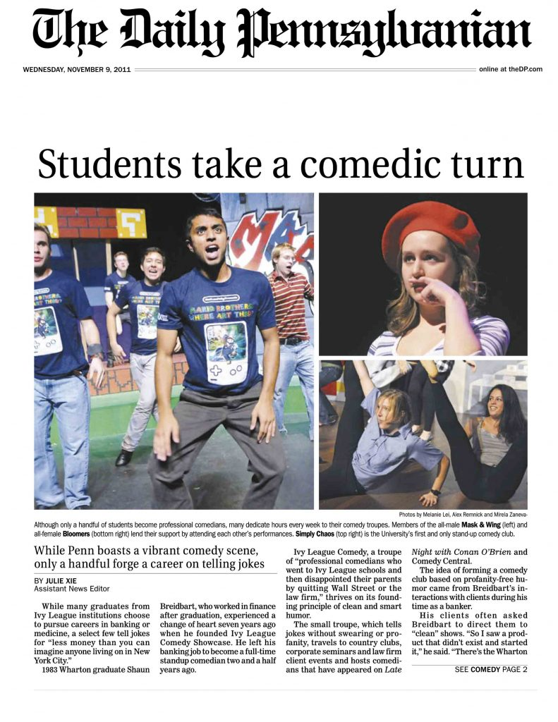 """Daily Pennsylvanian article """"Students take a comedic turn"""" about students and alumni from The University of Pennsylvania, including Ivy Stand-up comedian Shaun Eli"""