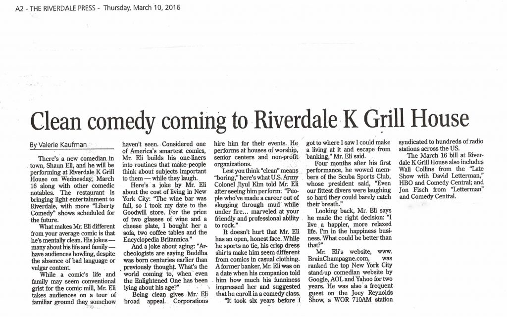 """""""Clean comedy coming to Riverdal K Grill House"""" article in the Riverdale Press newspaper"""